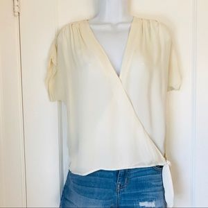 Joie Darrel Short Sleeve Silk Wrap Top in Ivory